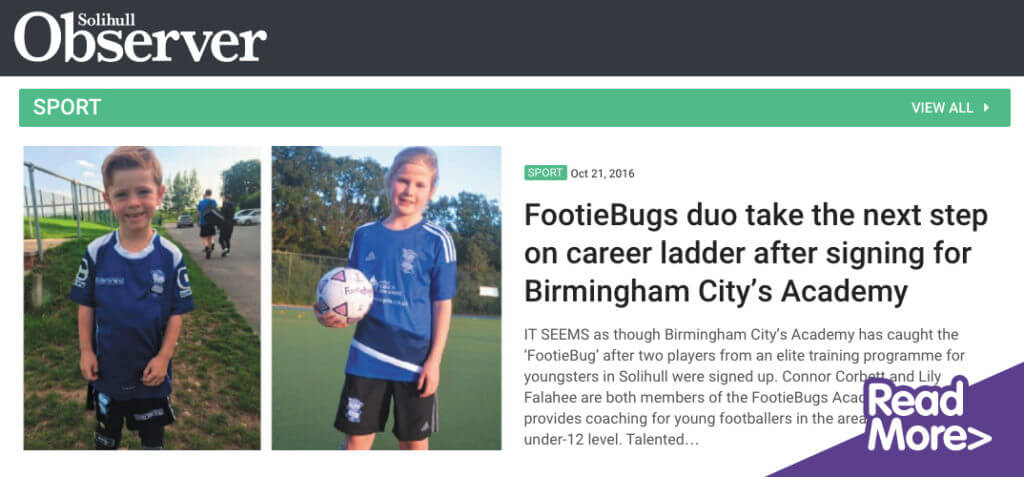 Solihull observer: footiebugs feature!