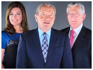 Lord Alan Sugar and members of the Apprentice TV show team