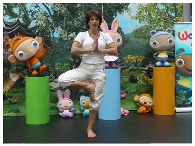 an image of Waybullo childrens TV show characters and a yogabugs instructor