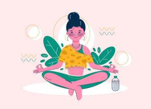 image of a woman floating and meditating, calm and happy