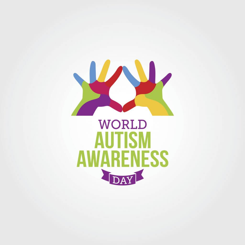 World Autism Awareness Day Vector Illustration, two hands with different coloured fingers