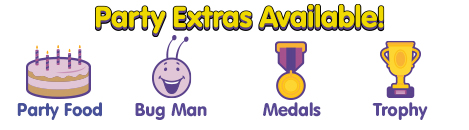 bugs group party extras - showing food, bug man, medals and a trophy