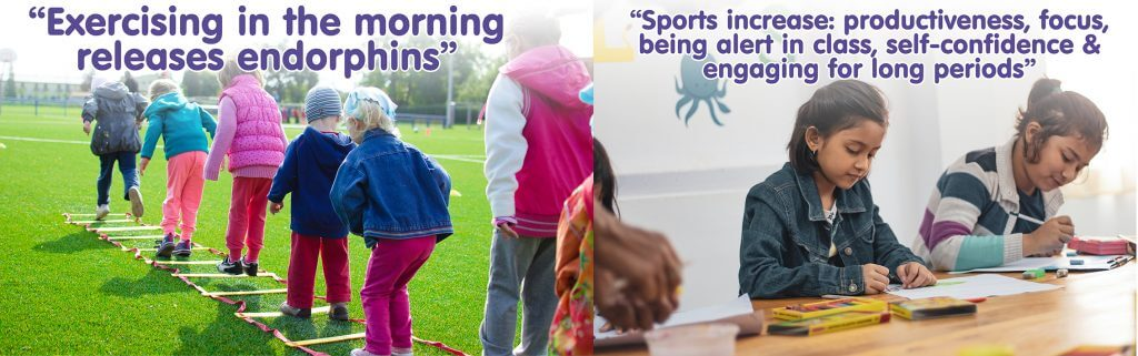 two images on children particpating in sports and studying and the correlation between the two