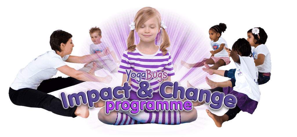 """an image of a girl doing a yoga pose with """"impact and change"""" written on it in text"""