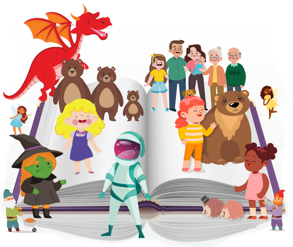a storybook illustration showing characters from childrens stories