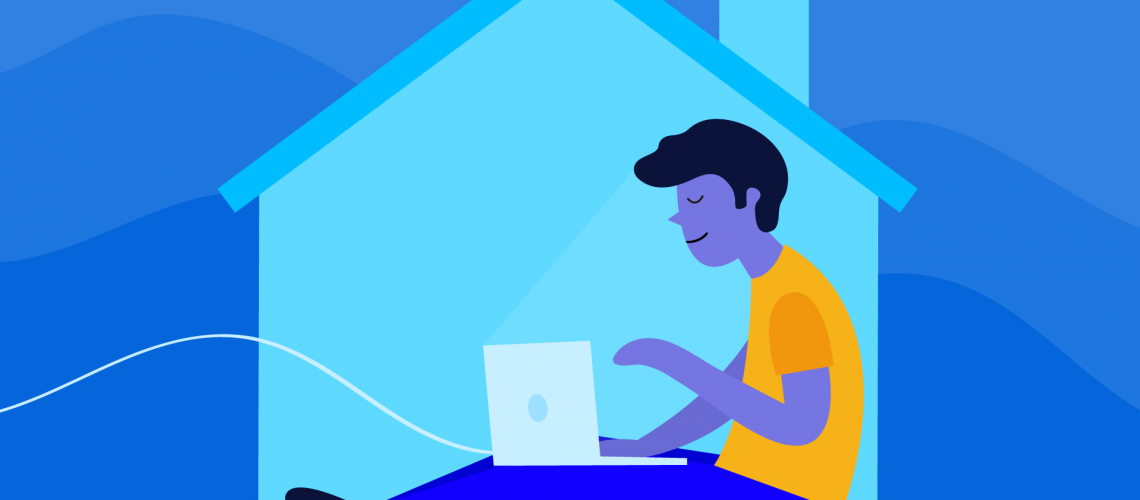illustration of a man working on a laptop computer inside a house